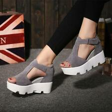 Womans faux suede Roma Casual Platform Wedge Heels Creeper T-Strap Sandals Shoes