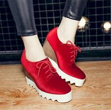 Womens Velvet Ankle Boots Platform Wedges High Heels Oxfords Creepers Shoes New