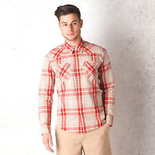 Mens Levis Barstow Western Shirt In Red-Long Sleeve-Pockets To Chest-Check