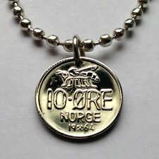 Norway 10 ore coin pendant honey bumble BEE Norwegian necklace Norge n000386