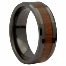 8MM Black Ceramic Wedding Ring Acacia Koa Wood Inlay Comfort Fit