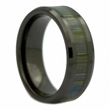 8mm Black Ceramic Ring, Inlay Made from Zebra Wood. Wedding Band By MJ
