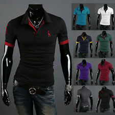 New Stylish Men's Short Sleeve Golf Simple Polo T-Shirt Shirts Slim Tops Blouse