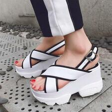 Womens Strappy Platform Wedges Gladiator Leather Sandals Punk Creepers New Size