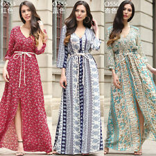 UK8-20 Ladies Chiffon V Neck Long Slit Dress Womens Summer Party Maxi Boho Dress
