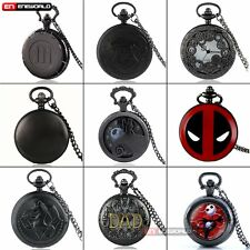 Black Pocket Watch Pendant Quartz Necklace Chain Stainless Steel Antique Retro