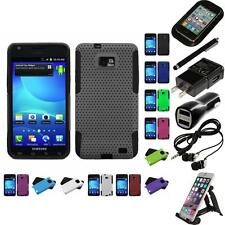 For Samsung Galaxy S2 i9100 Hybrid Rugged Impact Hard Soft Case Cover Bundle