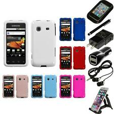 For Samsung Galaxy Prevail M820 Rigid Plastic Hard Snap-On Case Cover Bundle