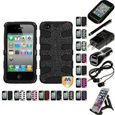 For Apple iPhone 4/4S Hybrid IMPACT Hard Soft Rugged Armor Case Cover Bundle