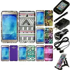 For Samsung Galaxy J7 Snap-On Design Rubberized Hard Phone Case Cover Bundle