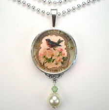 RED ROBIN BIRD WITH ROSE 'VINTAGE CHARM' SILVER OR BRONZE ART PENDANT NECKLACE