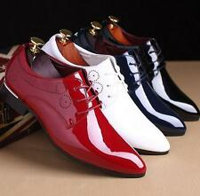 Mens lace up casual wedding shoes dress formal pointy toe patent leather shoes