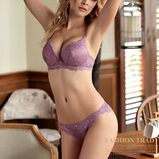 Sexy  Womens Lace Embroidery Push-up Bra Set Wire Free Padded Lingerie Underwear