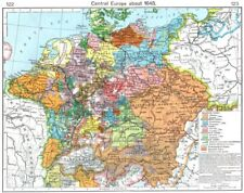 EUROPE. Central Europe about 1648 1956 old vintage map plan chart
