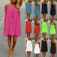 Celmia Womens Summer Casual Sleeveless Beach Chiffon Short Mini Dress Sundress