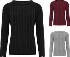 Womens Plus Cable Knitted Jumper Ladies Long Sleeve Crew Neck Plain Top 14-20