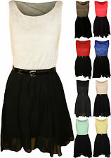 New Womens Floral Lace Lined Belted Ladies Sleeveless Skater Party Dress 8-14