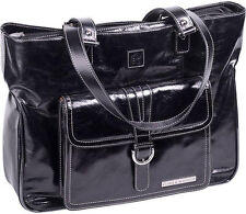 "Clark & Mayfield Stafford Vintage Leather 17.3"" Laptop Briefcase Handbag - Black"