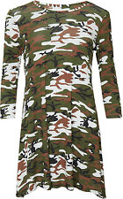 Womens Plus Army Camouflage Print Long Sleeve Skater Flared Ladies Swing Dress