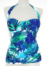 Tommy Bahama Extra Small Blue Floral Halter Tankini Swimsuit TOP XS NWT RUNS BIG