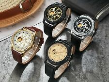 Automatic Mechanical Wrist Watch Brown Leather Luxury Mens Gift Skeleton Sports