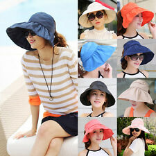 Hot Seaside Visor Hat Summer Sun Hat For Women Large Brimmed Cap Folding Beach