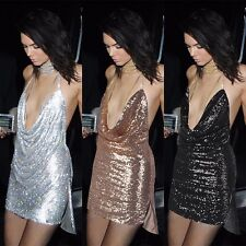 Women Sexy Sequin Mini Strappy Backless Evening Cocktail Party Dress Plus Size