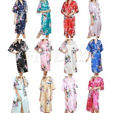 Silk Satin Peacock Kimono Robe Dress Gown Wedding Bridesmaid Sleepwear Bathrobe