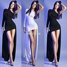 New Women Sexy One Shoulder Long Sleeve Casual Party Cocktail Evening Dress S0BZ