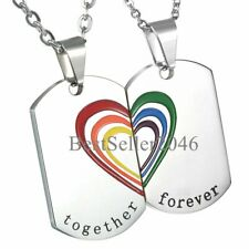 Gay Rainbow Pride Stainless Steel Dog Tag Pendant Couple Necklaces LGBT Jewelry