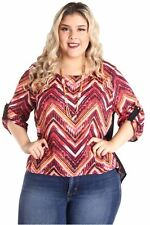 DEALZONE Beautiful Front Print Top 1X Women Plus Size Pink Evening, Occasion