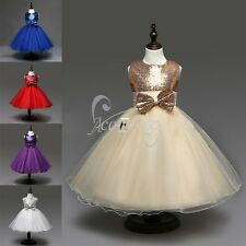 Girls Sequin Flower Princess Party Wedding Bridesmaid Tulle Gown Dress 2-14Years