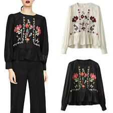 Women Blouse Floral Embroidery Ruffles Hem O-Neck Long Sleeves Pullover Top X6R8