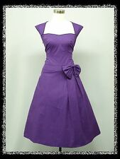 dress190 PURPLE CAP SLEEVED 40s 50s ROCKABILLY PIN-UP VINTAGE SWING PARTY DRESS