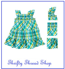 Gymboree - girls blue plaid smocked DRESS - SEA SPLASH -  SIZE 4T  - NWT
