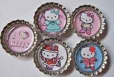 5 Hello Kitty Bottle Cap Magnets-2 Styles-Set 2