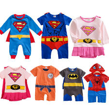 BOYS GIRLS BABY SUPER HERO ROMPER ONE PIECE PARTYSUIT OUTFIT FANCY DRESS COSTUME