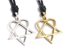 New Heartagram HIM Pentagram Silver Pewter Gold Brass Necklace Pendant Jewelry