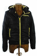 New Womens Superdry Hooded Sports Puffer Jacket French Navy