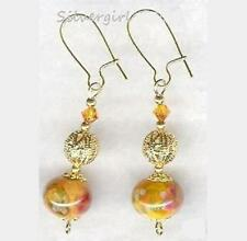 Lampwork Dangle Earrings Crystal Pink Yellow Purple Red Orange Blue Rose Quartz