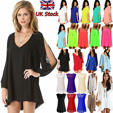 UK Womens Summer Mini Dress Ladies Chiffon Casual Party Cocktail Beach Sundress