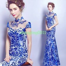 New Chinese Cheongsam Evening Prom Homecoming Mermaid Dress Long Gown Embroidery