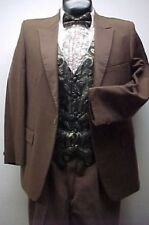 AFTER SIX VINTAGE MEDIUM BROWN SATIN MENS or BOYS TUXEDO JACKET OR 4pc RETRO TUX