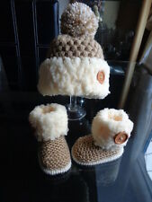 Hand knitted Baby/Reborn Shoes/Booties, and Crochet Hat,Size 0/3 Months