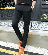 Fashion Mens slim fit linen pants trousers elastic casual dress skinny New Hot @