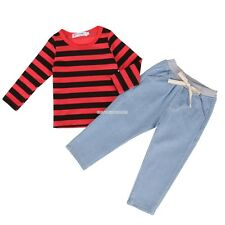New Kids Girls' Wear Two Pieces Outfits Set Long Sleeve Striped Hoodie EN24H