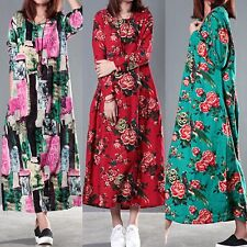 Sexy Women Floral Long Sleeve Loose Casual Evening Party Gown Long Dress Hot