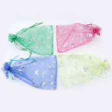 20/100pcs Silver Butterfly Organza Gift Bags Jewellery Pouch 230*170mm/300*200mm