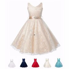Lace Formal Birthday Wedding Bridesmaid Party Pageant Princess Flower Girl Dress