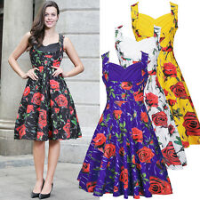 Plus Size 8-18-20 Summer Womens Floral Print Vintage Style Swing Party Tea Dress